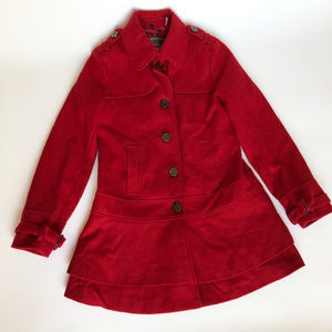Guess M Red Wool Blend Jacket Button Up Coat Layer
